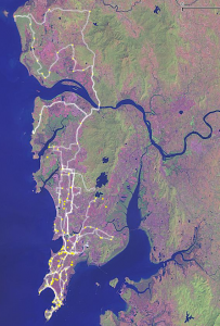 NASA LandSAT 7 self-made composited imagery with my GPS tracks overlaid, Greater Mumbai and Vasai-Virar 2004-2006