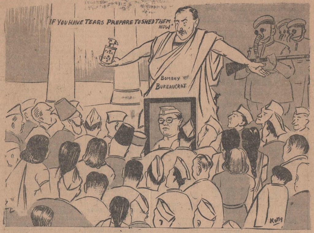 Front page cartoon the day after police firings on a birthday procession for Subhash Chandra Bose left 80 dead and over 500 injured, portraying Police Commissioner Harold Edwin Butler (Free Press Journal, 24 January 1946)