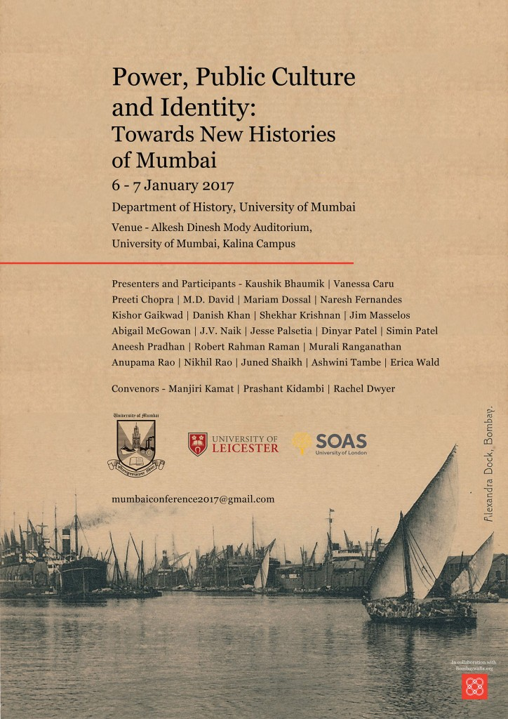 Towards New Histories of Mumbai, 6-7 January 2017, Department of History, University of Mumbai